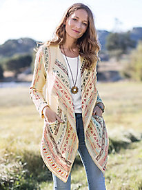 Open Drape Embroidered Cardigan