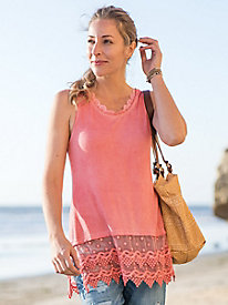 Lace Hem Washed Tank Tunic
