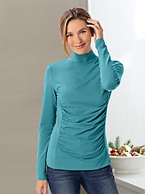 Long Sleeve Front Ruched Turtleneck