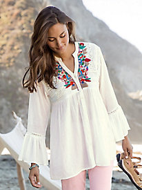Embroidered Flowy Blouse
