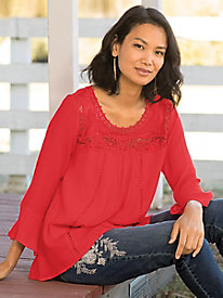 Crochet Lace Flowy Blouse