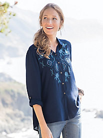 Embroidered Navy Button Front Shirt