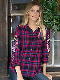 Pink Embroidered Flannel Shirt