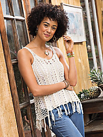 Crochet Tank Top with Fringe