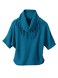 Fringe Detail Short Sleeve Sweater
