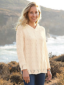 Cotton Cable Pointelle Hoody Sweater