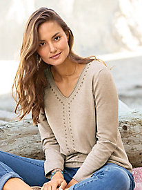 V-Neck Sweater with Grommet Detail