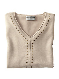 V Neck Grommet Detail Sweater