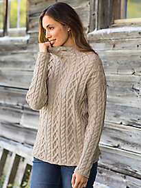 Chunkly Scrunch Neck Cable Pullover Sweater