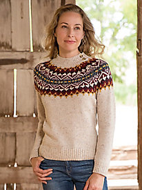 Fair Isle Yoke Mockneck Sweater