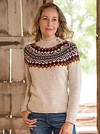 Fair Isle Yoke Mockneck Sweater