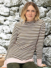 Scrunch Neck Stripe Sweater