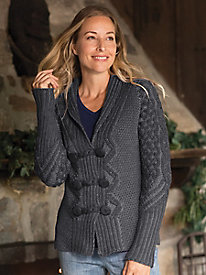 Irish Plated Button Cardigan Sweater