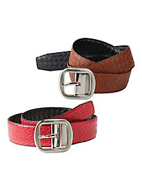 Classic Basket Weave Reversible Belt
