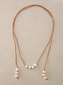 Long Suede Pearl Necklace