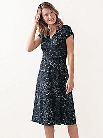 Bella Coola Print Knit Cap Sleeve Dress by Sahalie