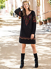 Embroidered Peasant Knit Dress
