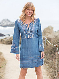 Embroidered Bell-Sleeve Denim Dress