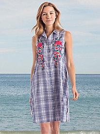Plaid Embroidered Dress by Sahalie