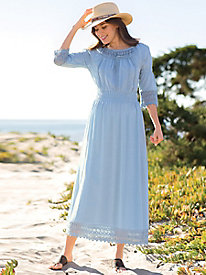 Crochet Trim Peasant Dress