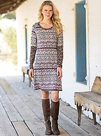 Fit & Flare Long Sleeve Print Dress