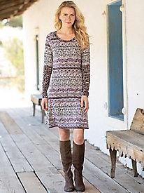 Fit & Flare Long Sleeve Print Dress
