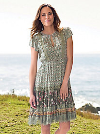 Short Sleeve Sage Multi Dress