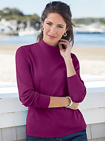 Essential Solid Long-Sleeve Cotton Mockneck