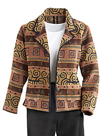 Notched-Collar Tapestry Jacket