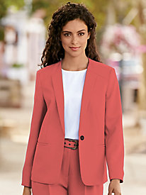 Single-Button Textured Jacket