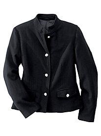 Mandarin Collar Wool-Blend Jacket