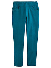 Flat-Waist Washed Denim Jeans