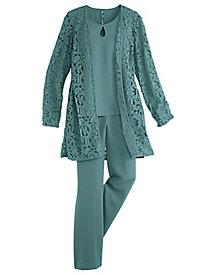 Lace Duster Pants Set