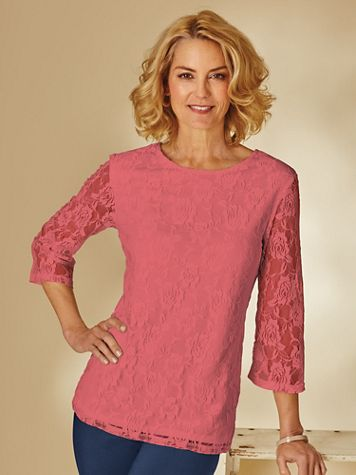 Three-Quarter Length Sleeve Lacy Tee - Image 2 of 2