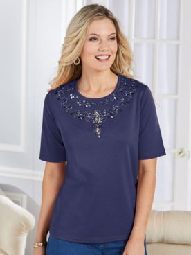 Elbow-Sleeve Ornate Beaded Top