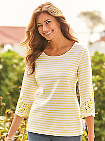 Stripe Tee With Eyelet Sleeves