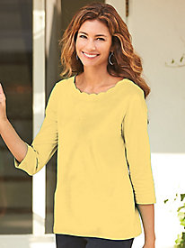 Three-Quarter Length Sleeve Scallop Neckline Tee