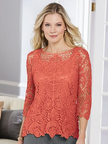 Crochet Lace Three-Quarter Length Sleeve Top - Image 1 of 7