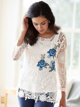 Flower Applique Crochet Top