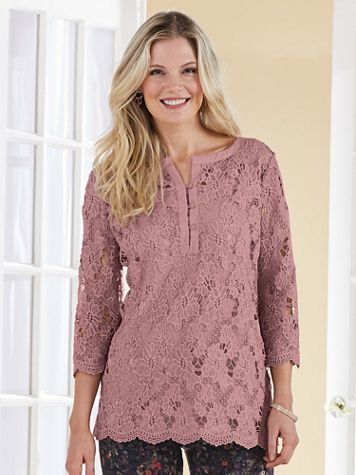 Lace Crochet Henley - Image 1 of 7