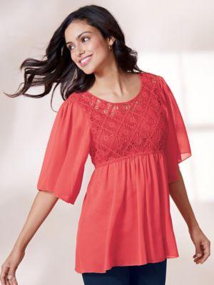 dd21db10cdcf3 Lace Detail Asymmetrical Hem Tunic · Flutter Sleeve Crochet Front Tunic ...