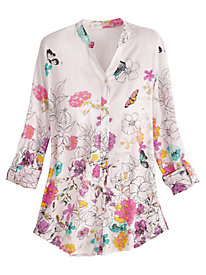 Floral And Butterfly Print Shirt