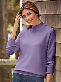Cashmere-Like Acrylic Mock Turtleneck Sweater