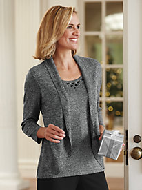 Jeweled-Neck Layered-Look Sweater