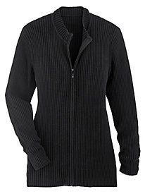 Ribbed Zip-Front Cardigan