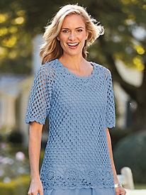 Short-Sleeve Crochet Pullover by Bedford Fair