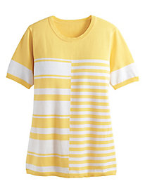 Striped Colorblock Short-Sleeve Sweater