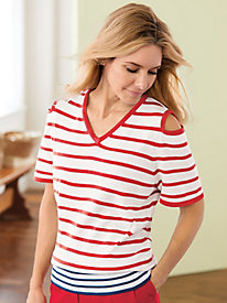 Shoulder Detail Stripe Sweater by Bedford Fair