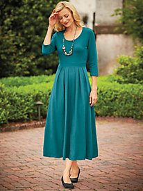 J.G. hook® Waist Pleated Scoop Neck Dress by Bedford Fair