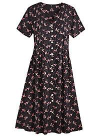 Pintucked Challis Dress